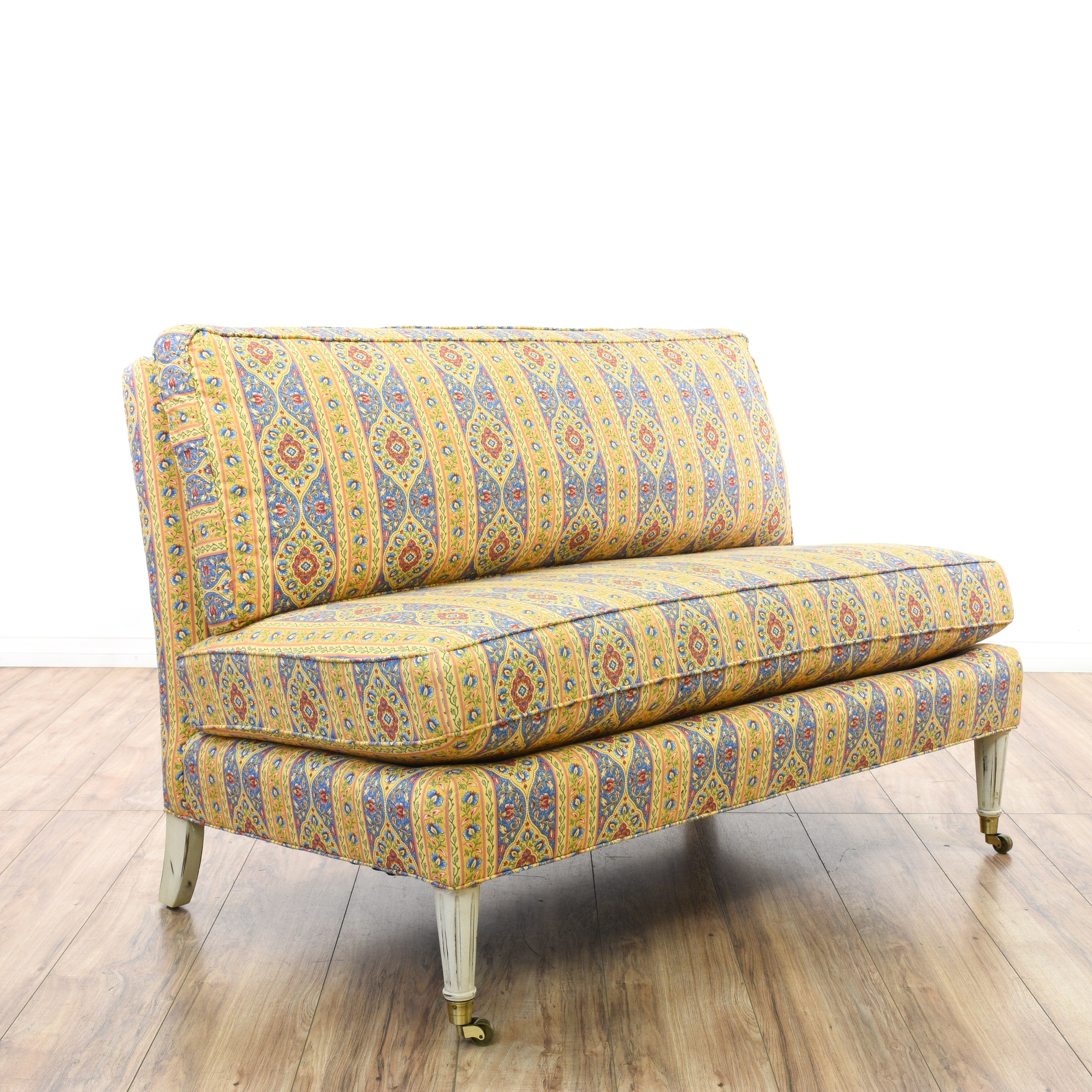 Calico Corners Colorful Floral Striped Loveseat Loveseat Vintage Furniture San Diego Los