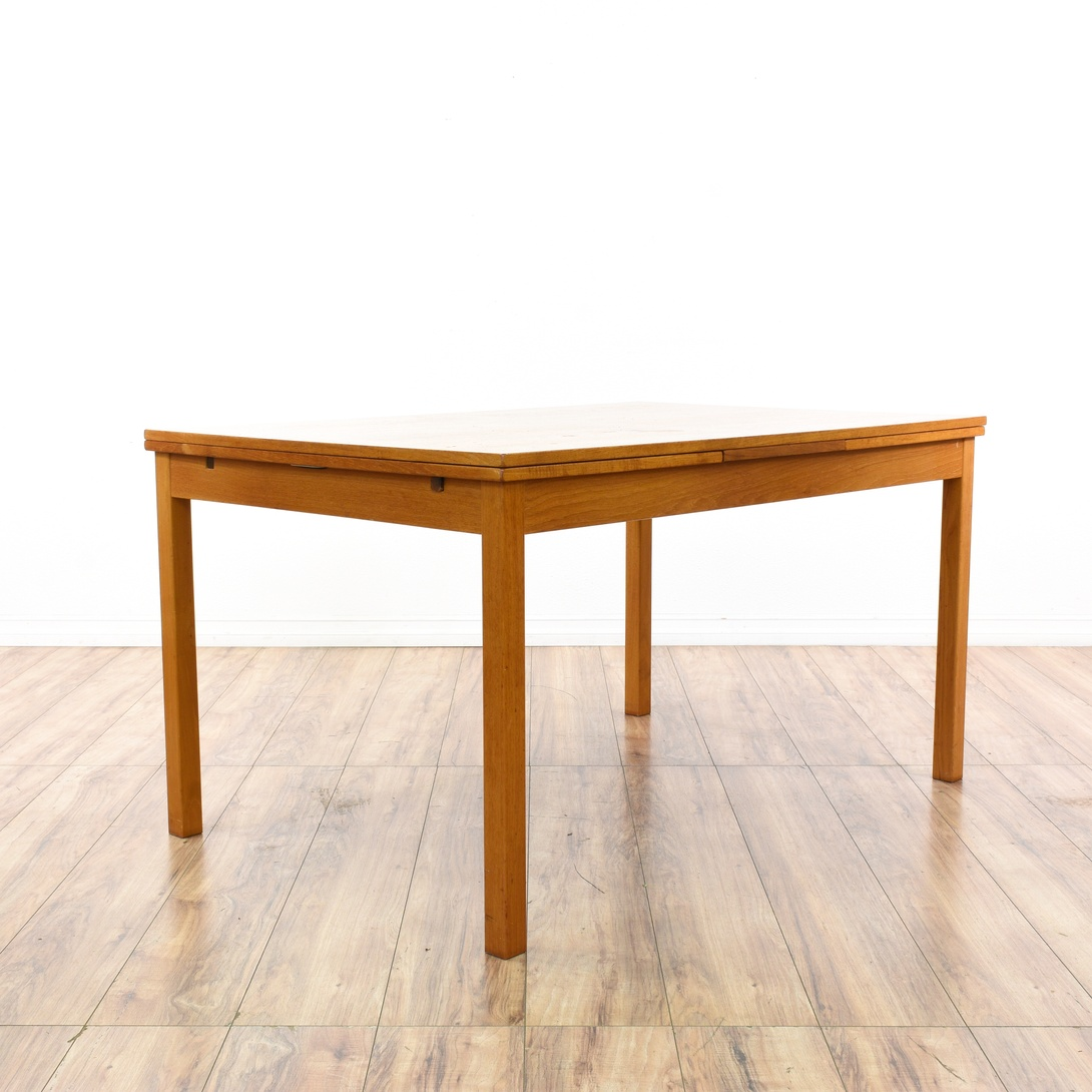 Danish Modern Teak Dining Table W Pull Out Leaves