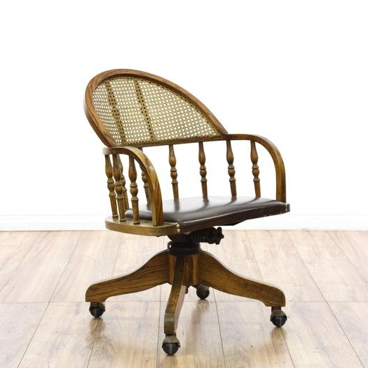 Cane Back Oak Desk Swivel Chair Loveseat Vintage