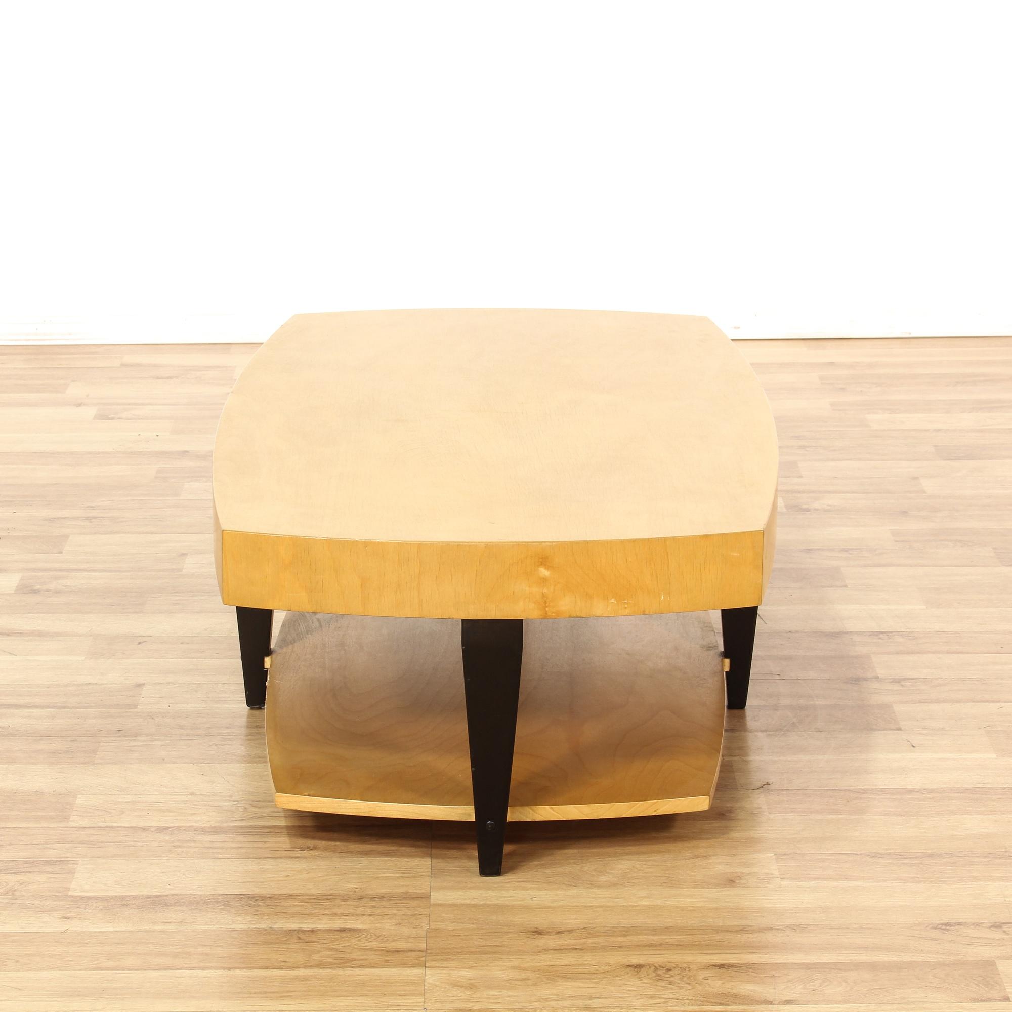 Beechwood Coffee Table W Ebony Leg Detail Loveseat Vintage Furniture San Diego Los Angeles
