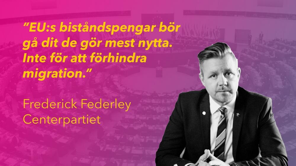 Kollage av Federley med gradient bakom sig och europeiska parlamentet.