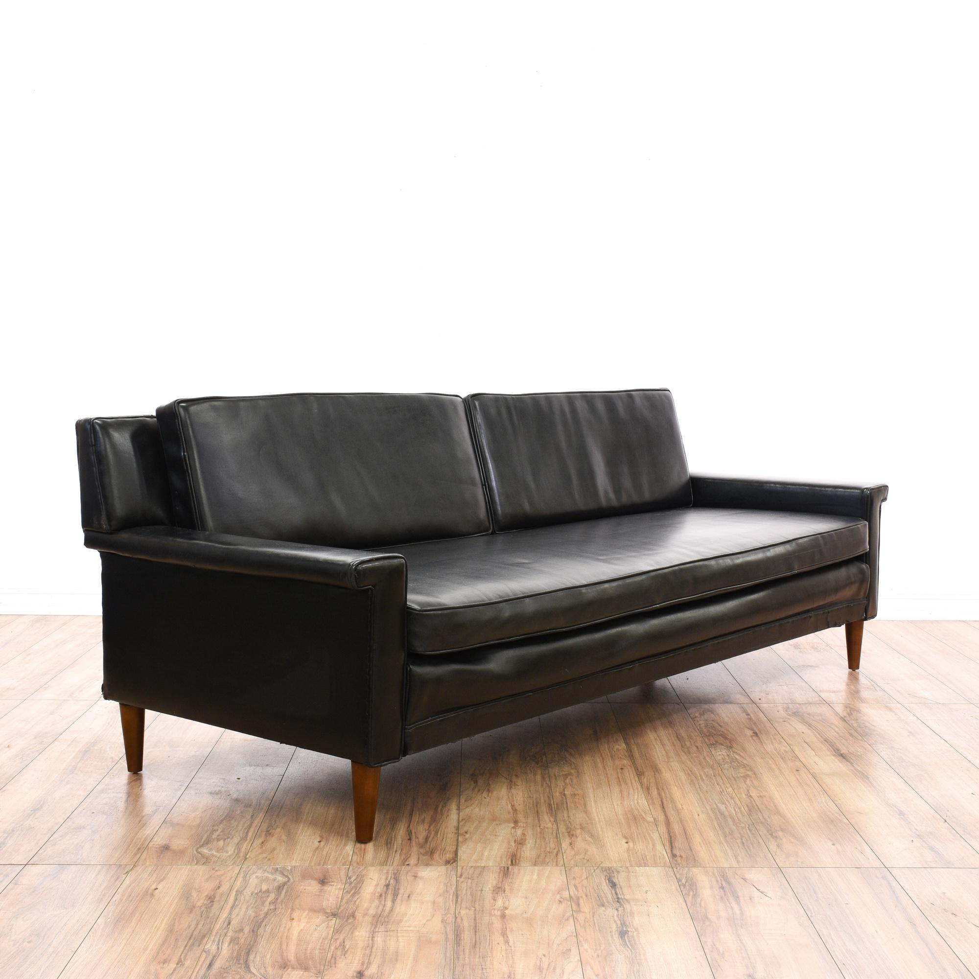 Mid Century Modern Sofa Bed: Black Vinyl Mid Century Modern Roll Out Sofa Bed