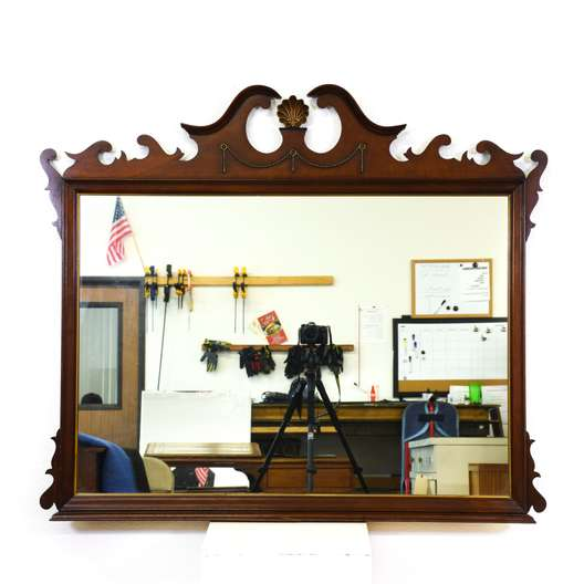 Large Carved Wood Wall Mirror