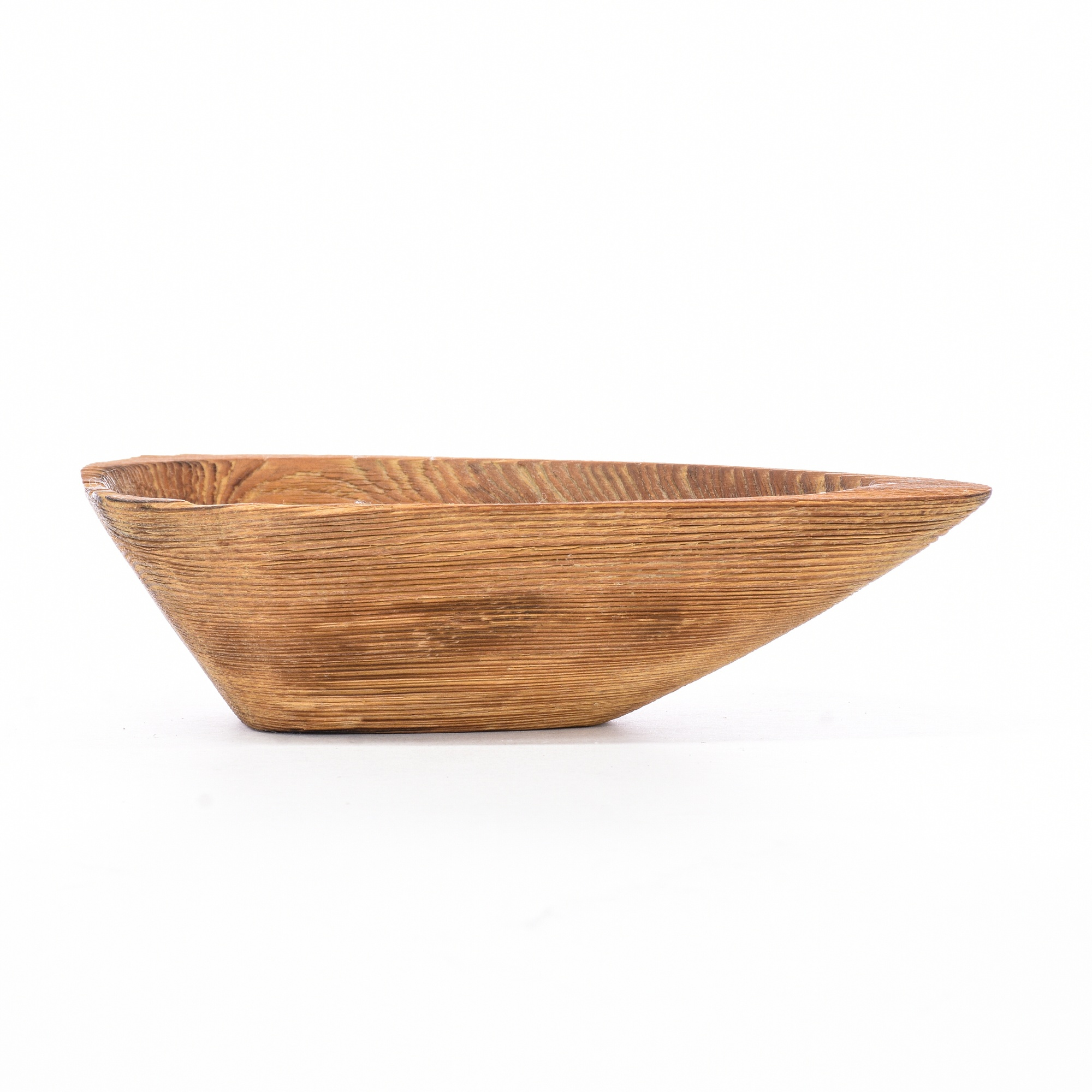 Raw Wood Triangle Trinket Dish Bowl Loveseat Vintage