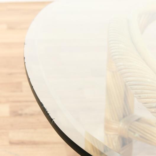Boho Rattan Coffee Table: Rattan & Glass Boho Coffee Table