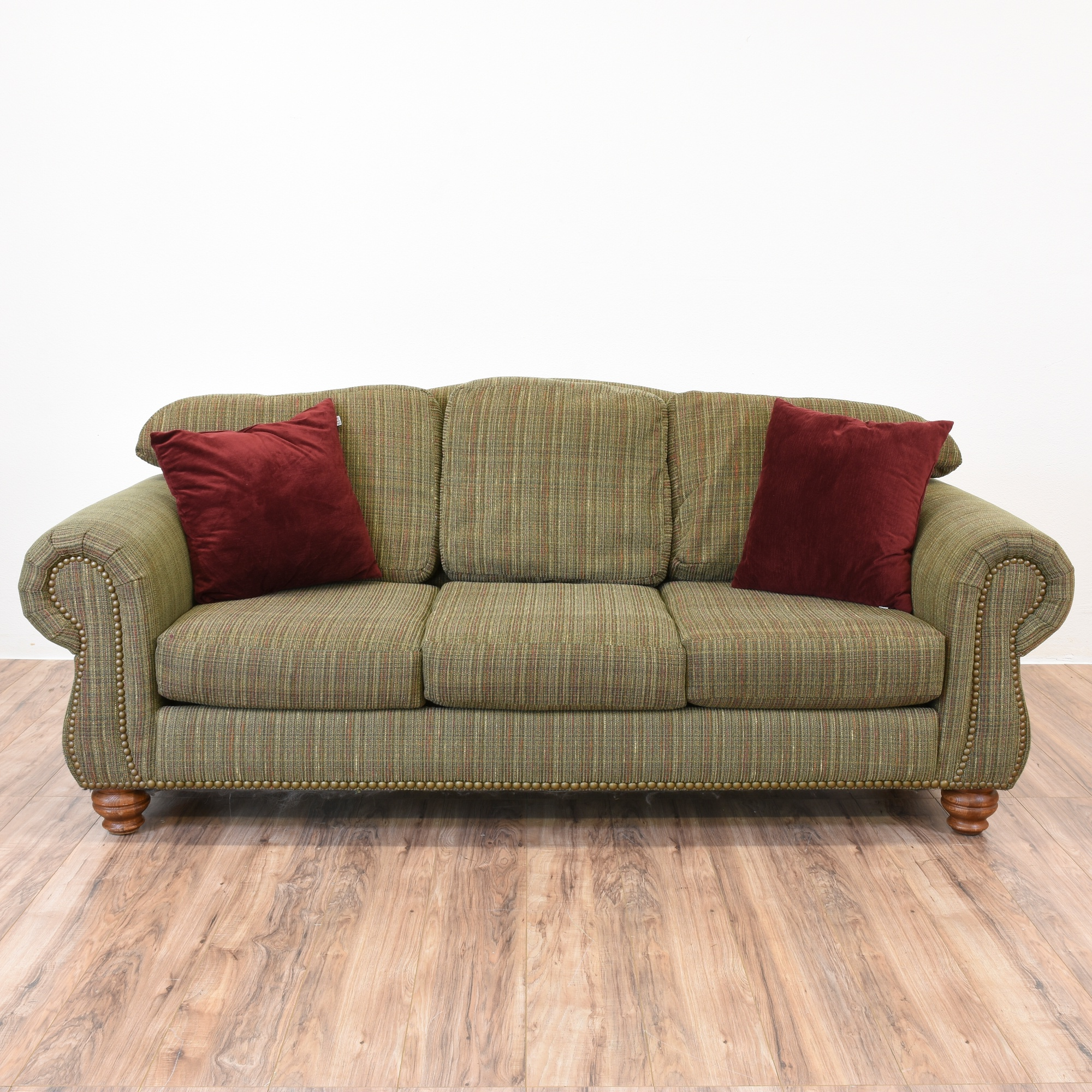 Moss Green Striped Sofa Loveseat Vintage Furniture San Diego Los Angeles