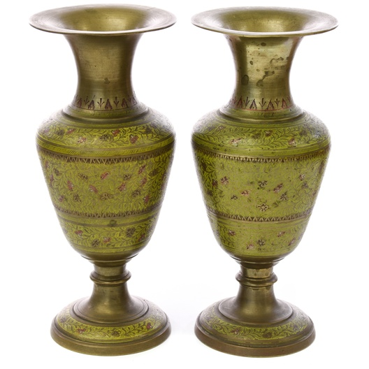 Pair Of Indian Etched Enamel Brass Vases Loveseat Vintage
