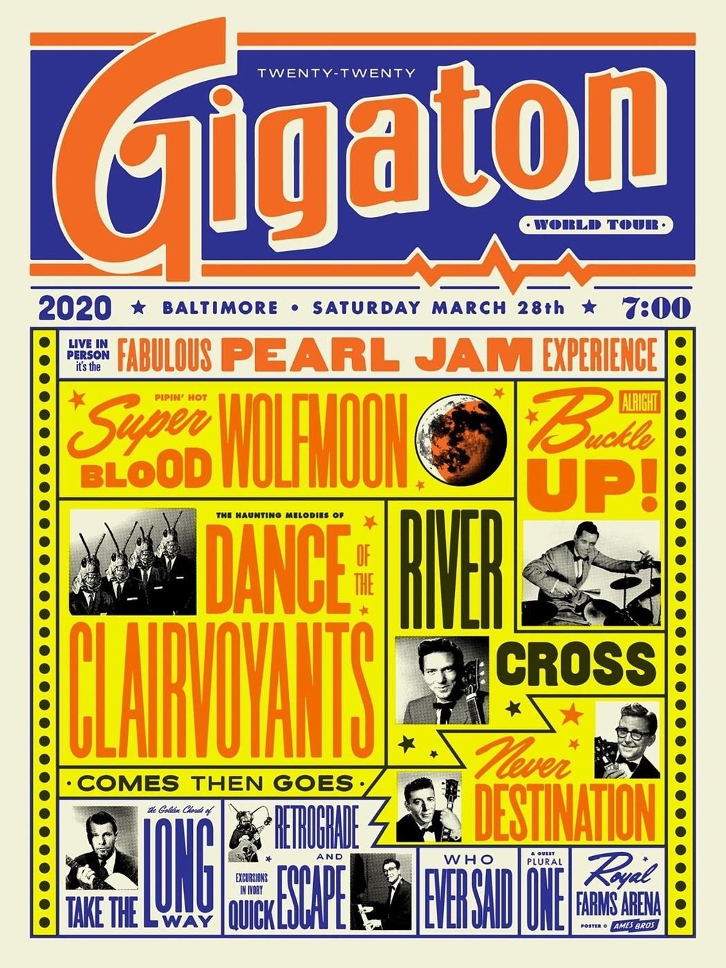 Pearl Jam Royal Farms Arena Baltimore Md 3 28 2020 Ames Bros Ap Collectionzz