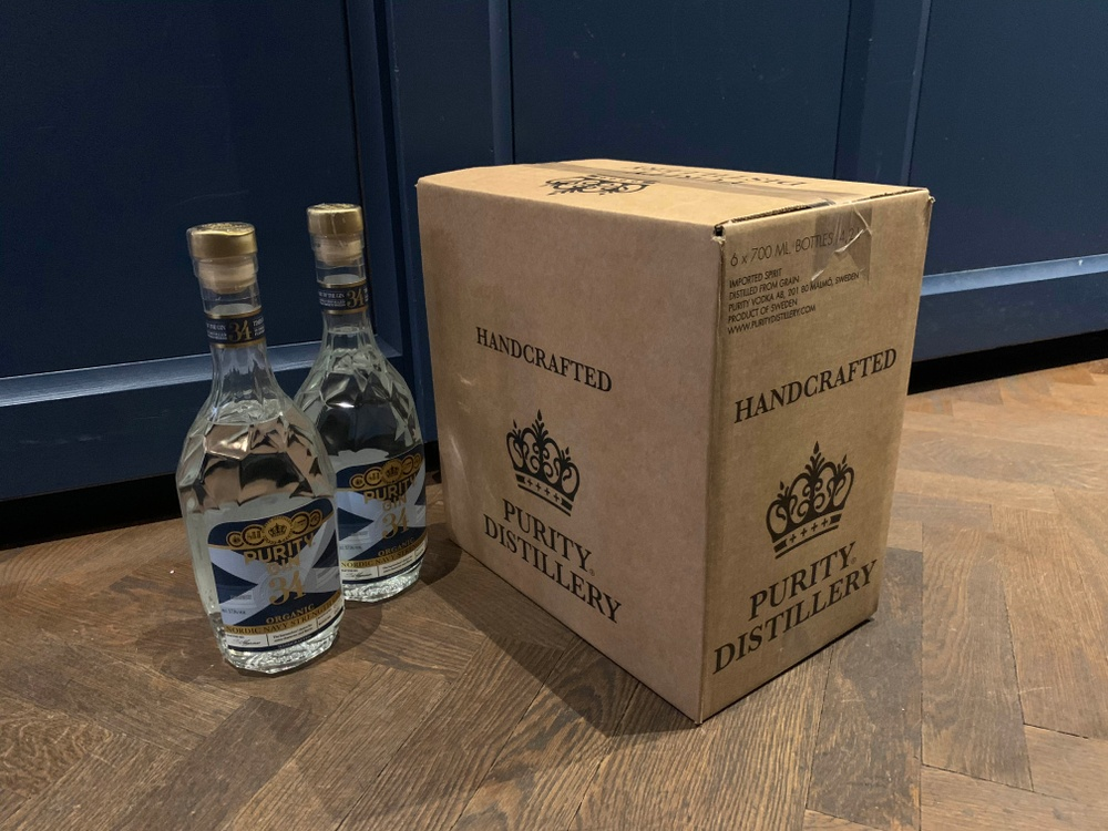 Purity Distillery Shipper box and two bottles of Navy Strenght Gin