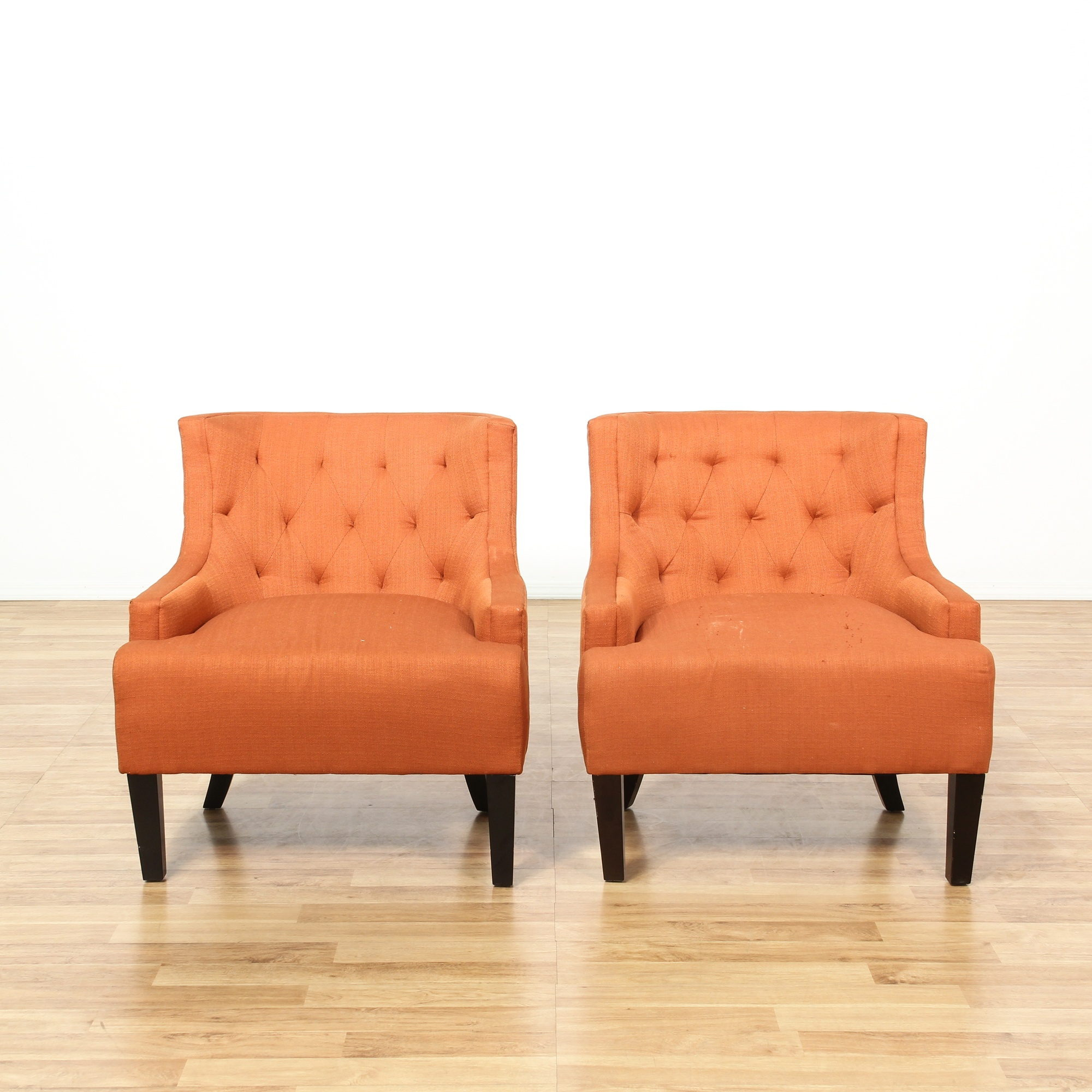 Curved Wood Bird Fabric High Back Accent Chair: Orange Tufted Curved Back Accent Chairs