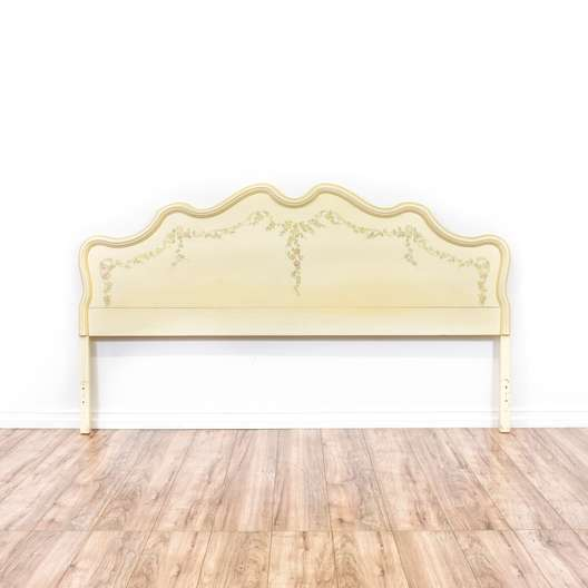 Cream Floral Cottage Chic King Sized Headboard