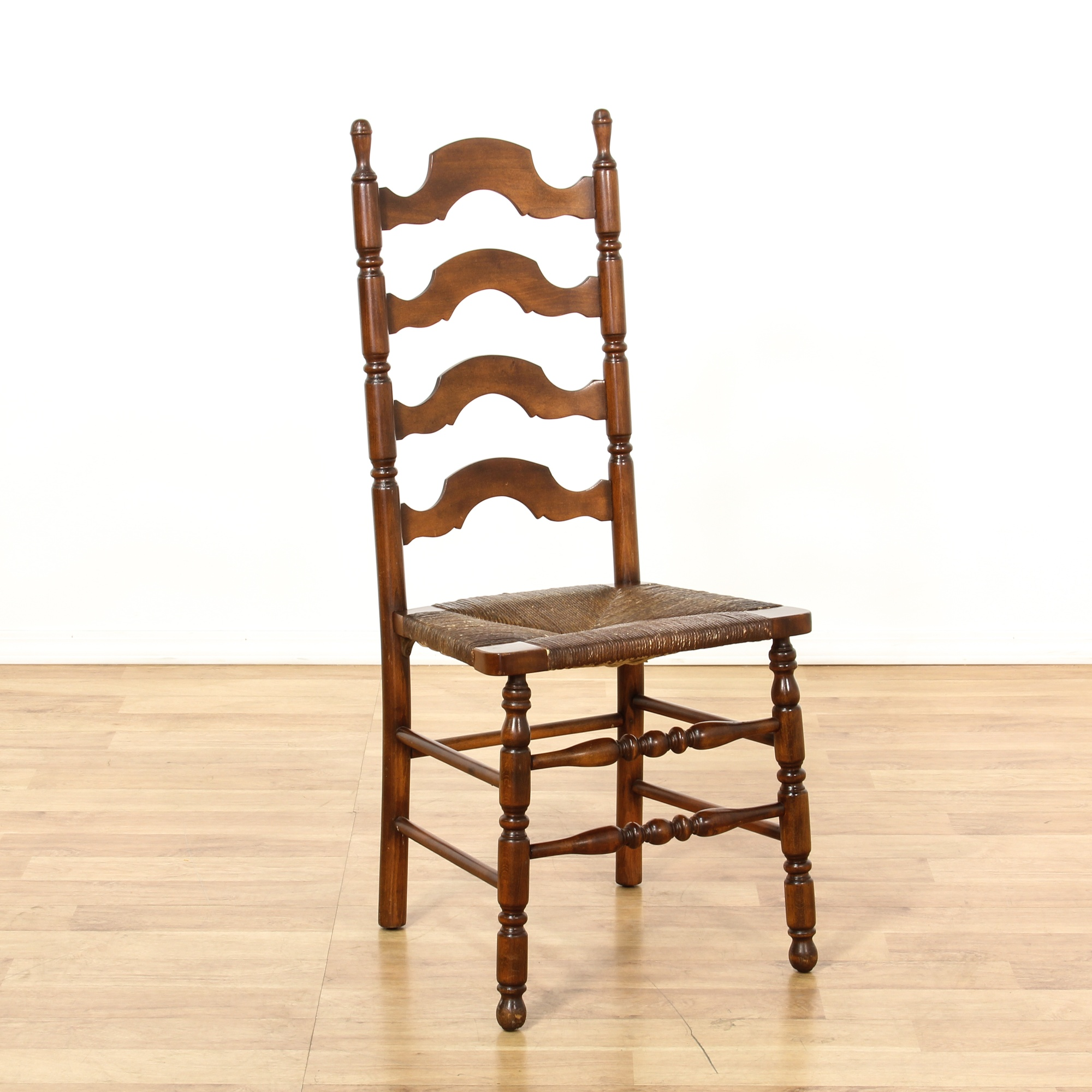 Dining Room Chairs San Diego: Set Of 6 Cherry Ladder Back Rush Dining Chairs