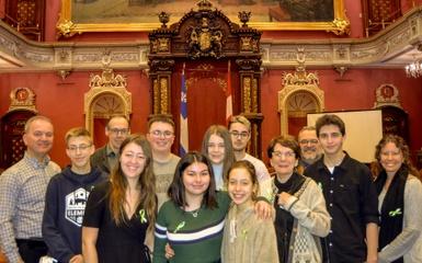 Le 2e Conseil jeunesse de la MRC d'Arthabaska en visite à l'Assemblée nationale du Québec