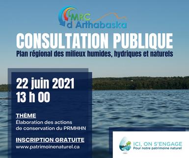 Consultation publique des plans des plans régionaux des milieux humides, hydriques et naturels