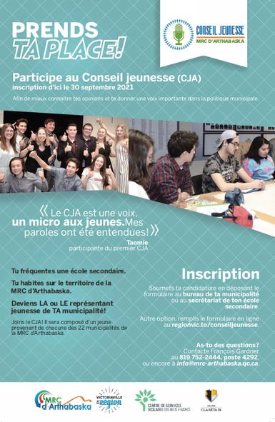 Conseil jeunesse - Appel de candidature jusqu'au 15 octobre