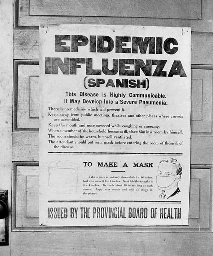 """Affiche de l'Alberta produite par les services de santé publique du Canada pour renseigner la population sur la grippe espagnole (Glenbow Archives, NA-4548-5) <a href=""""https://goo.gl/uHrzga"""">Source</a>"""