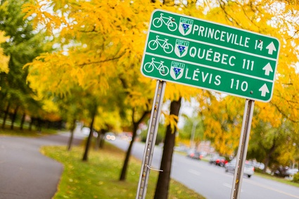 Le Parc linéaire des Bois-Francs (tronçon local de la Route Verte) passe au coeur du centre-ville de Victoriaville