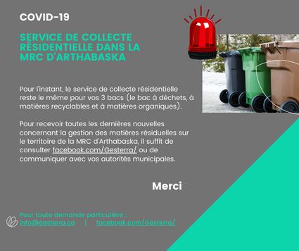 Mars 2020: Service de collecte des bacs maintenu dans la MRC d'Arthabaska