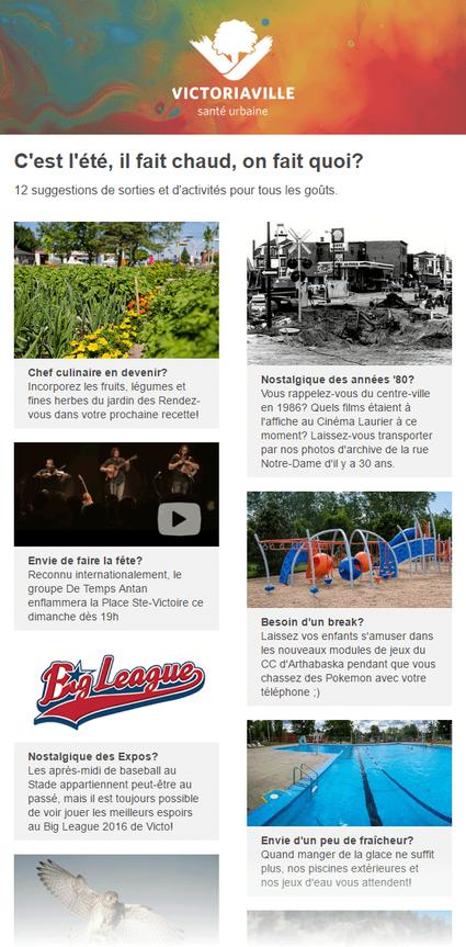 Le bulletin électronique vous tient informé des actualités et des activités à Victo, 1 fois par semaine.