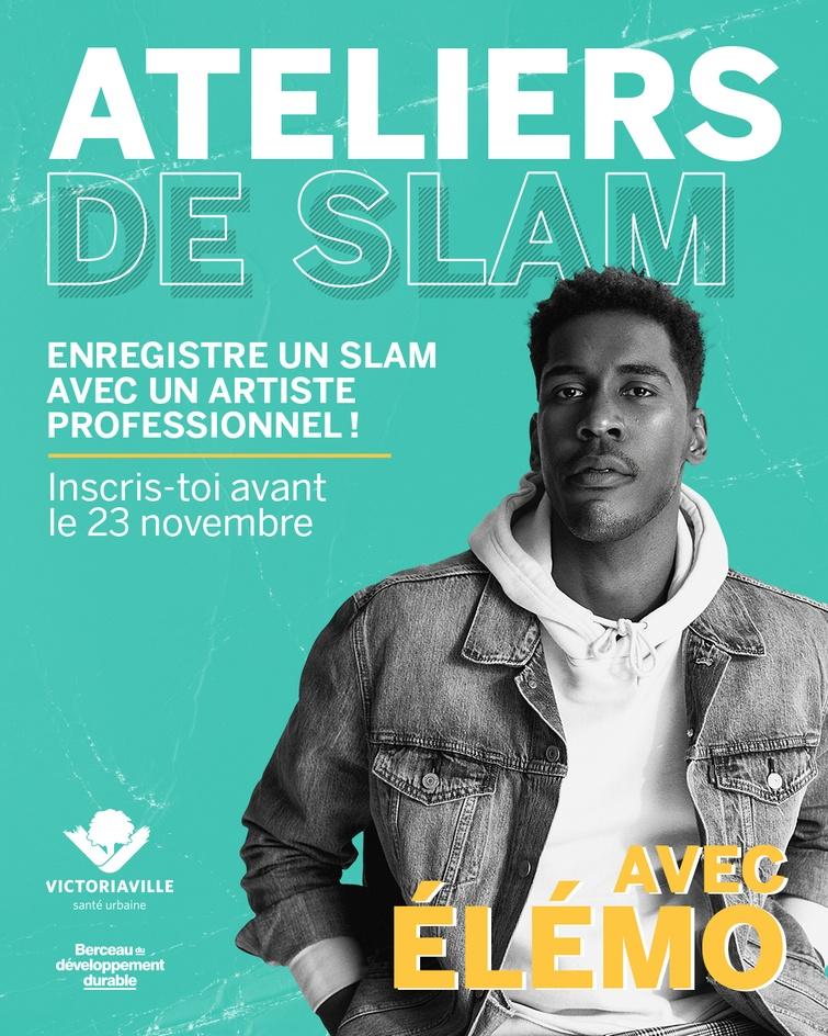 Ateliers de slam avec Élémo (affiche officielle)