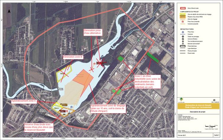 Aperçu du nouvel aménagement du réservoir Beaudet de Victoriaville, APRÈS RÉVISION (carte 1)