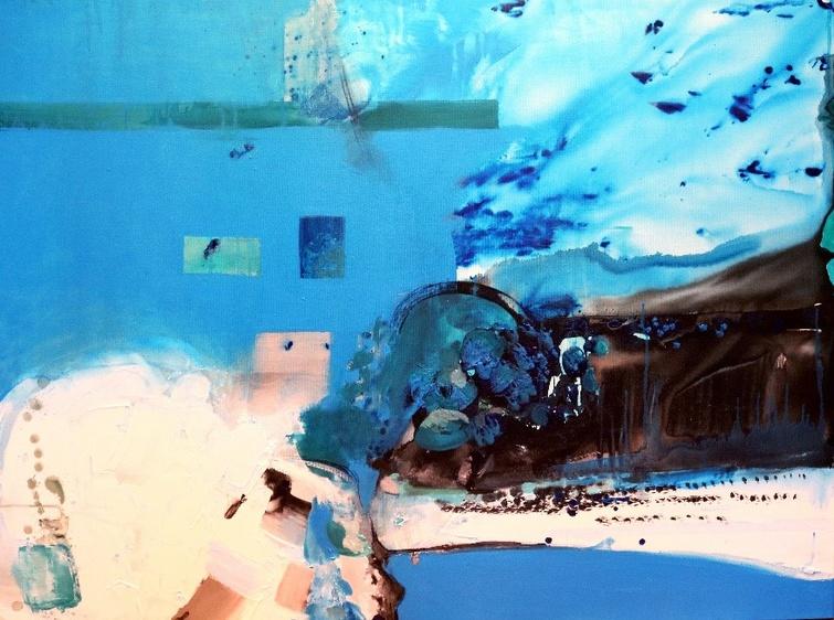 À la suite d'un appel lancé aux artistes, la Ville de Victoriaville a fait l'acquisition de 4 oeuvres d'artistes d'ici qui seront exposées dans les édifices municipaux, dont celle-ci, de Laurelou Élie. (Mi luna llena, acrylique, encre et fusain sur toile, 122 cm x 91 cm, 2019)