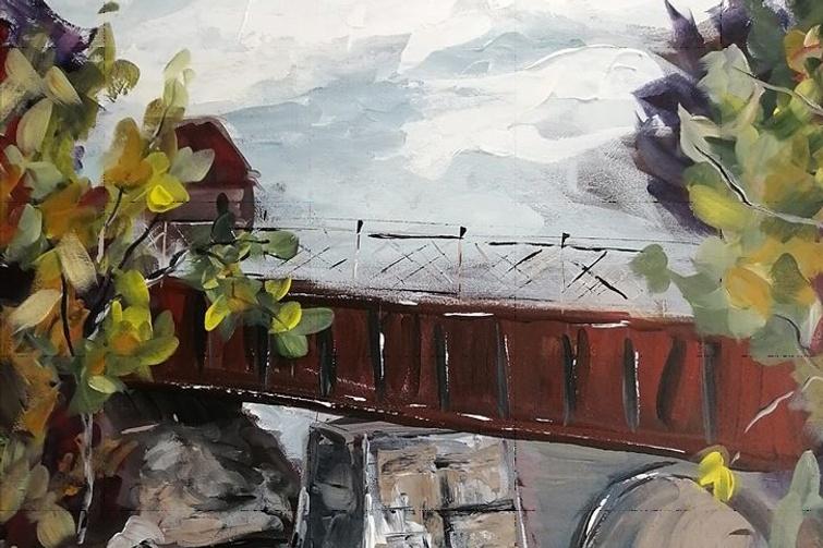 Le pont de fer, 30 x 24, acrylique sur toile, 2020