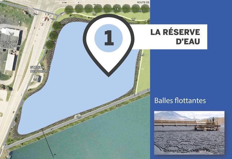 Aperçu de la réserve d'eau du réservoir Beaudet de Victoriaville