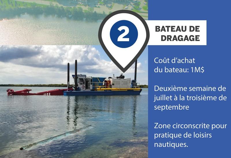 Aperçu du bateau de dragage des sédiments du réservoir Beaudet de Victoriaville