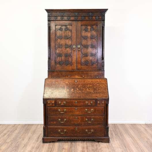 Antique Carved Quarter Sawn Oak Secretary Hutch