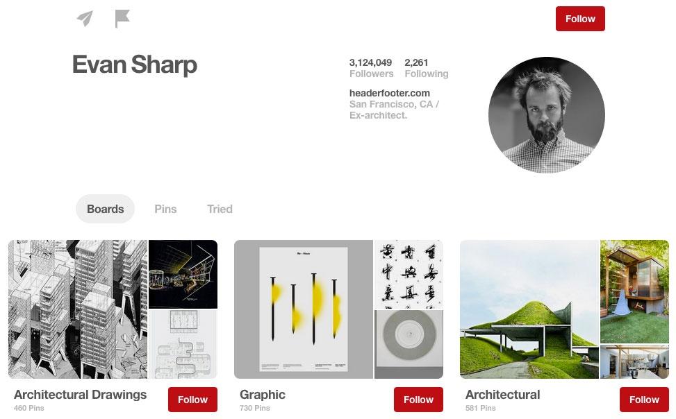 Evan Sharp's Pinterest profile