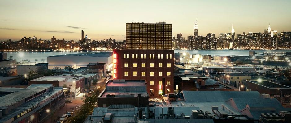 Photo of Manhattan skyline with Wythe Hotel