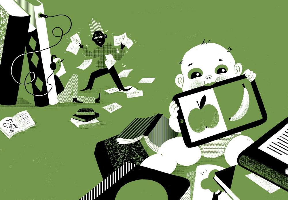 Saga Bergebo har gjort illustrationer till rapporten Bildens värde i den digitala boken.