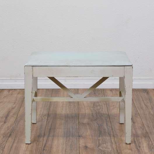 Shabby Chic White Piano Bench