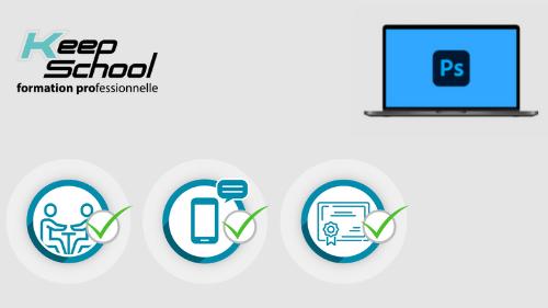 Représentation de la formation : Photoshop préparation TOSA : 100% cours particuliers à domicile (40h) + e-learning