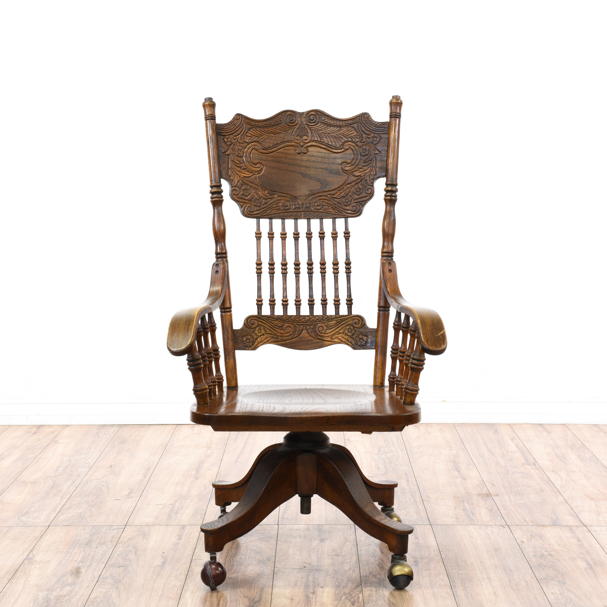 Victorian oak press back rolling desk chair loveseat for Victorian furniture los angeles