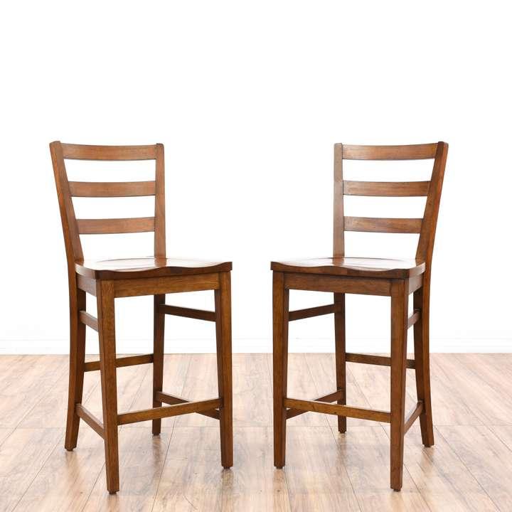 Pair Of Curved Wicker Rattan Barstools Loveseat Vintage Furniture San Diego Los Angeles