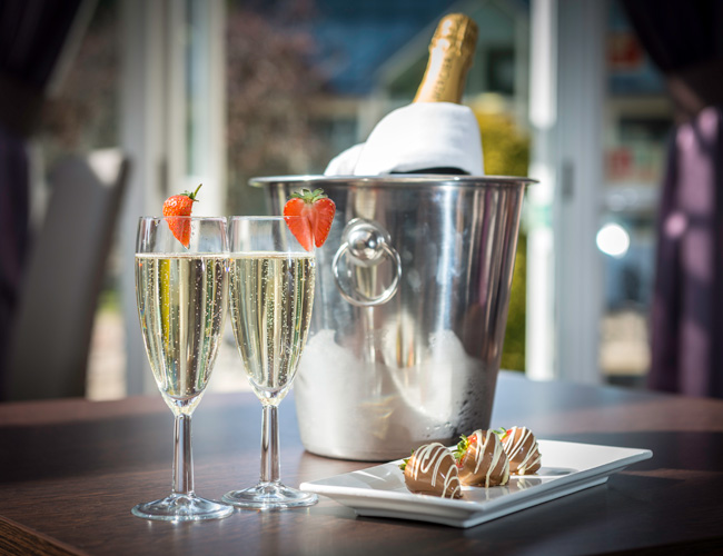 Champagne and strawberries at DoubleTree by Hilton Dundee