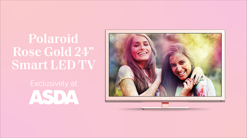 """Go for the (rose) gold 🌟 Upgrade any room with the newest Polaroid Rose Gold 24"""" LED Smart TV, with features like Netflix, YouTube, and Amazon Prime Video. Exclusively in-store at ASDA. https://www.polaroid.com/products/polaroid-rose-gold-tv"""