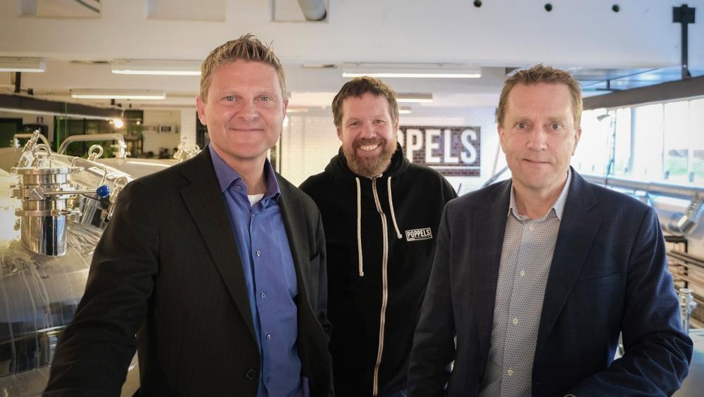 Poppels nye ordförande Mattias Carlsson, VD Mats Wahlström och avgående ordförande Tomas Kaudern