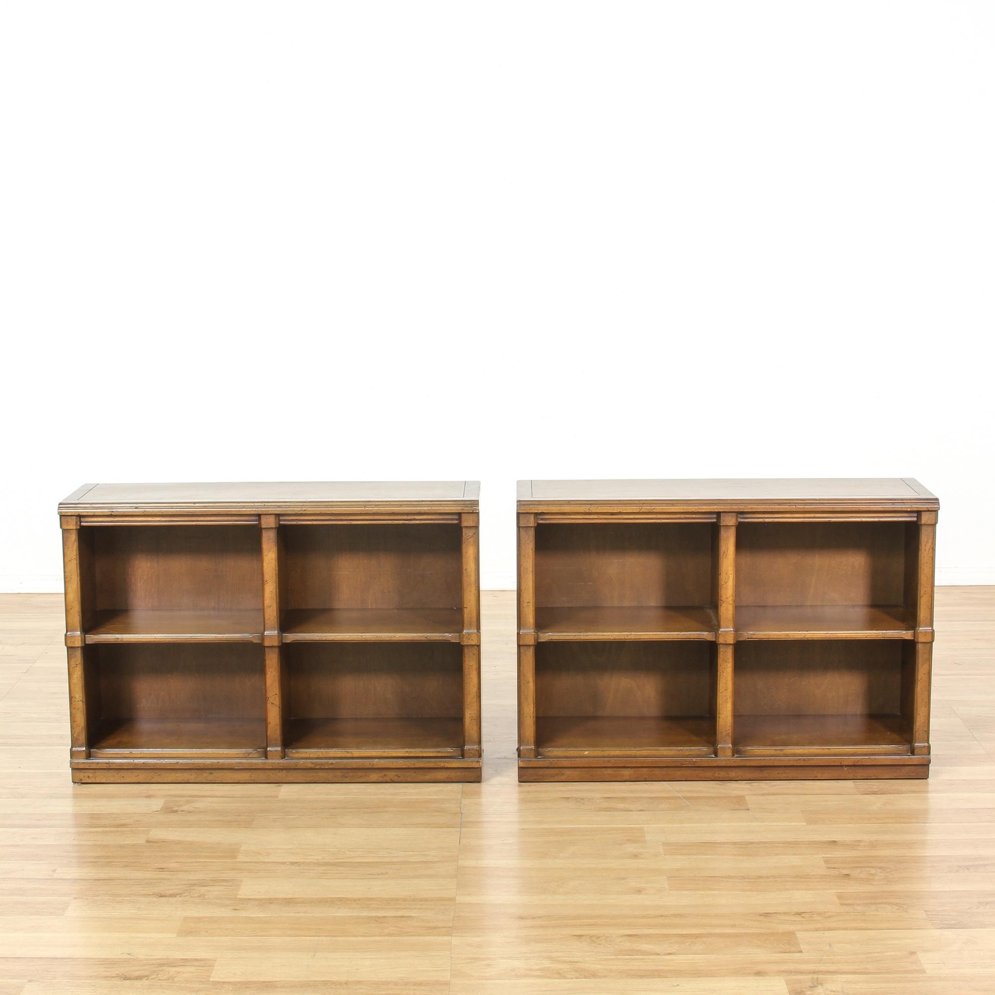 Pair Of Low Walnut Bookcase Cubbies Loveseat Vintage