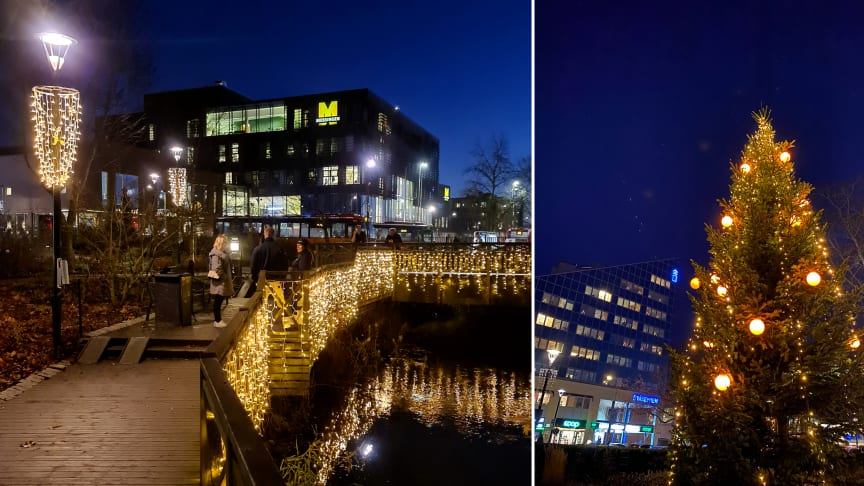 Väsbys stationsområde smyckats med en 12 meter hög gran och tusentals energisnåla LED-lampor.