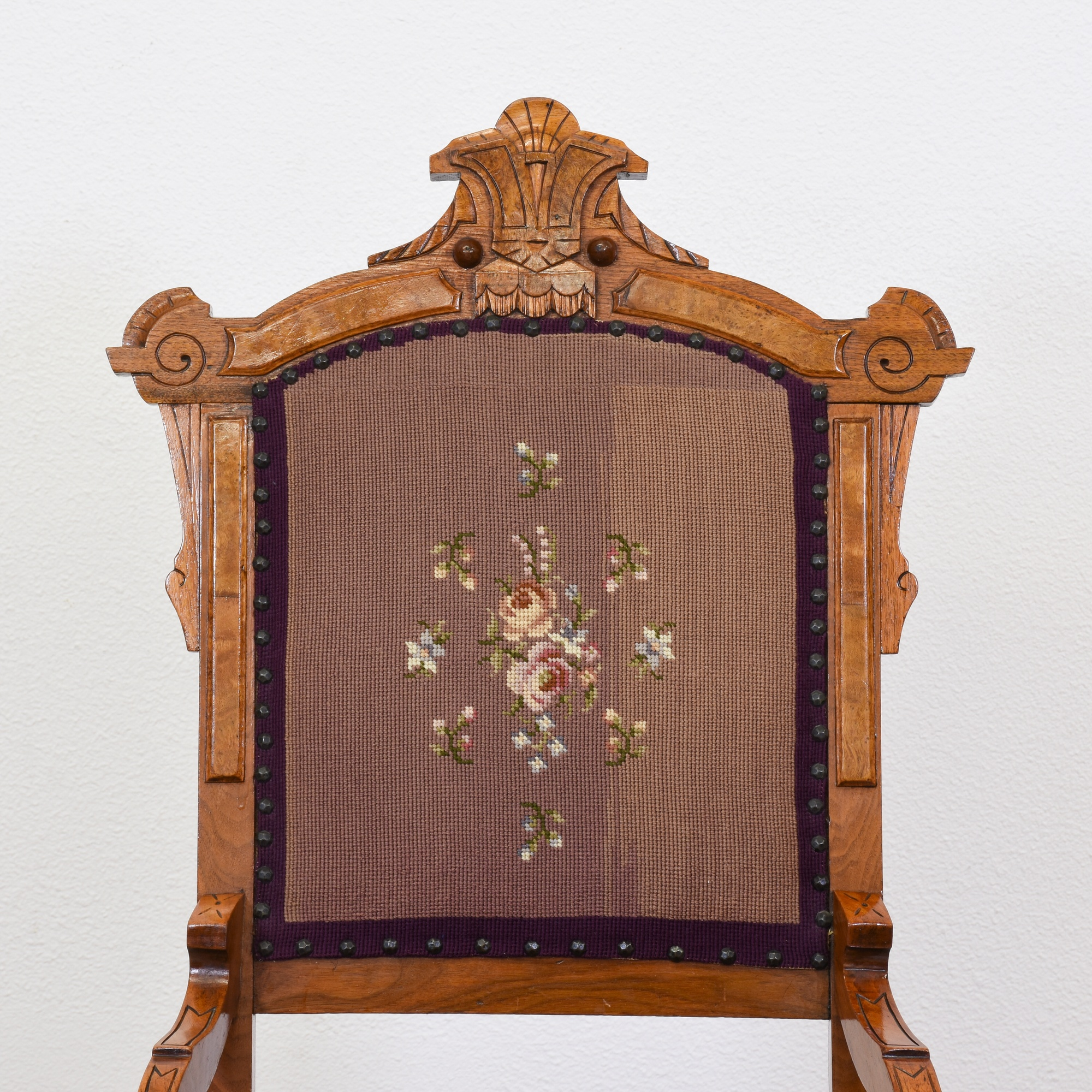 Victorian Floral Carved Needlepoint Chair Loveseat