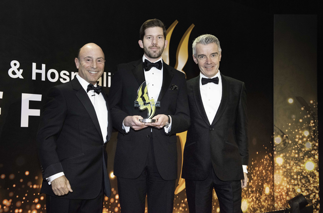 Clive Jacobs, Jacobs Media Group chairman; Young Manager of the Year (hospitality) winner Oliver Milne-Watson, The Beaumont; Noel Mahony, Baxterstorey chief executive