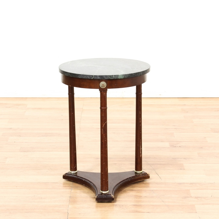 Italian Green Marble Top Round End Table