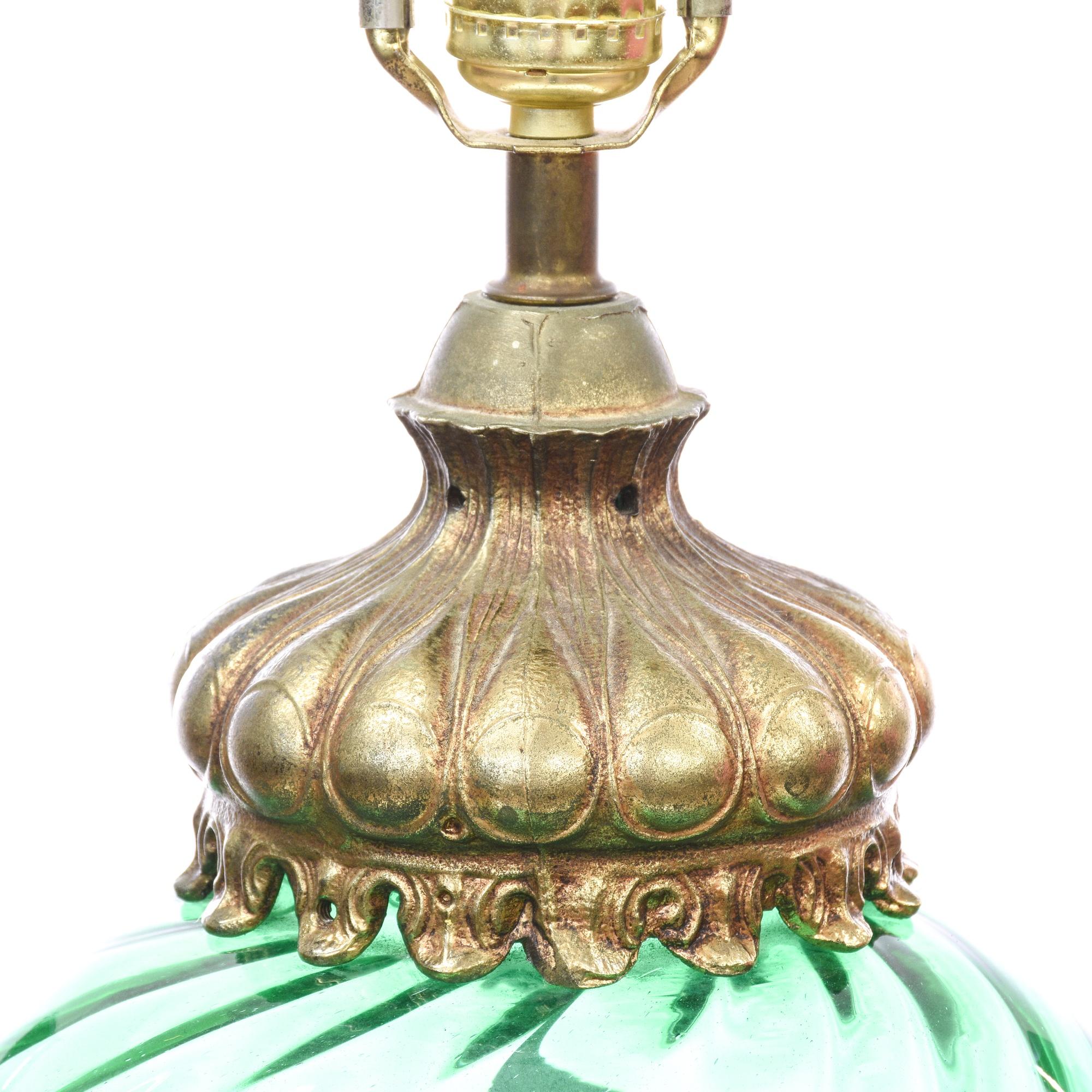 Brass Amp Green Glass Vase Decorative Lamp Loveseat