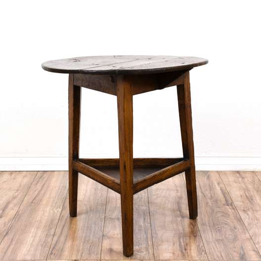 Rustic Round 2 Tiered Tripod End Table