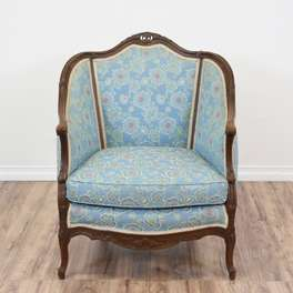 French Louis XV Bergere Style Chair in Blue Floral