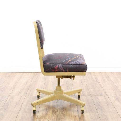 retro industrial beige metal rolling office chair loveseat vintage furniture san diego los. Black Bedroom Furniture Sets. Home Design Ideas