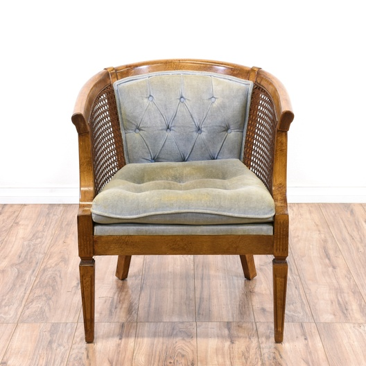 Maple Tufted Cane Barrel Chair Loveseat Vintage